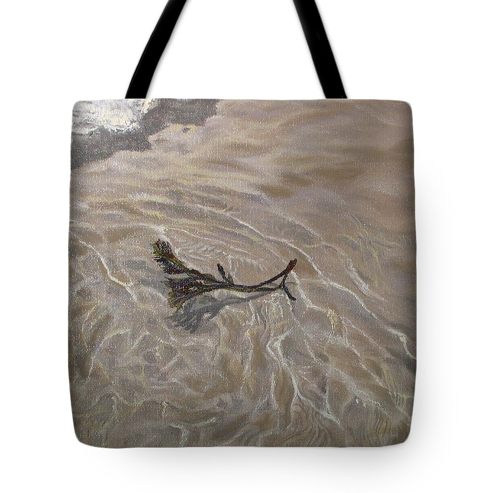 Seascape Tote Bag featuring the painting Seashore Reflections by Lea Novak