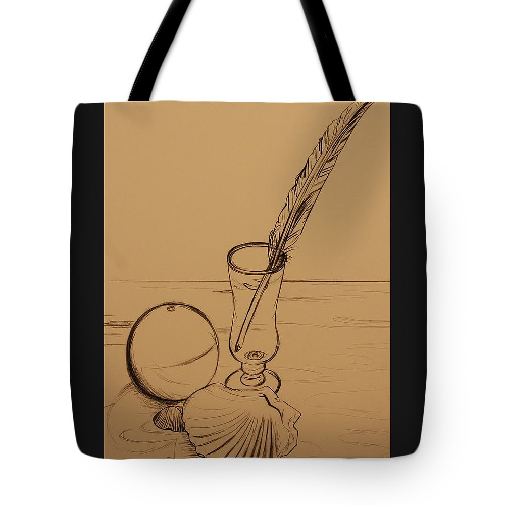 Ocean Tote Bag featuring the drawing Seaside Objects by Michelle Miron-Rebbe
