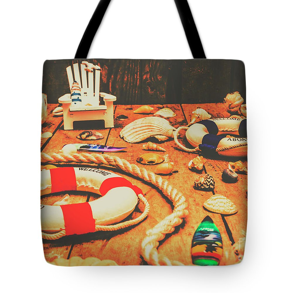 Nautical Tote Bag featuring the photograph Seaside Ropes And Nautical Decks by Jorgo Photography - Wall Art Gallery