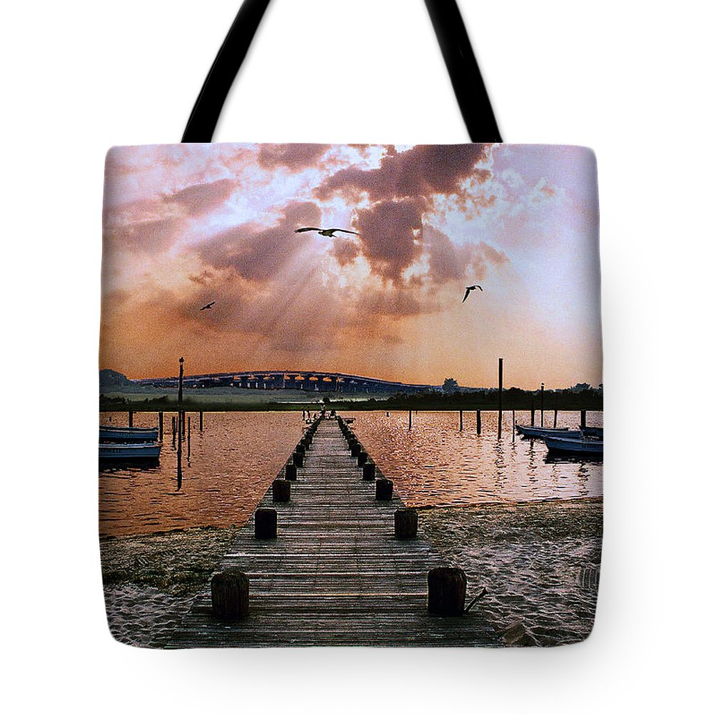 Seascape Tote Bag featuring the photograph Seaside by Steve Karol