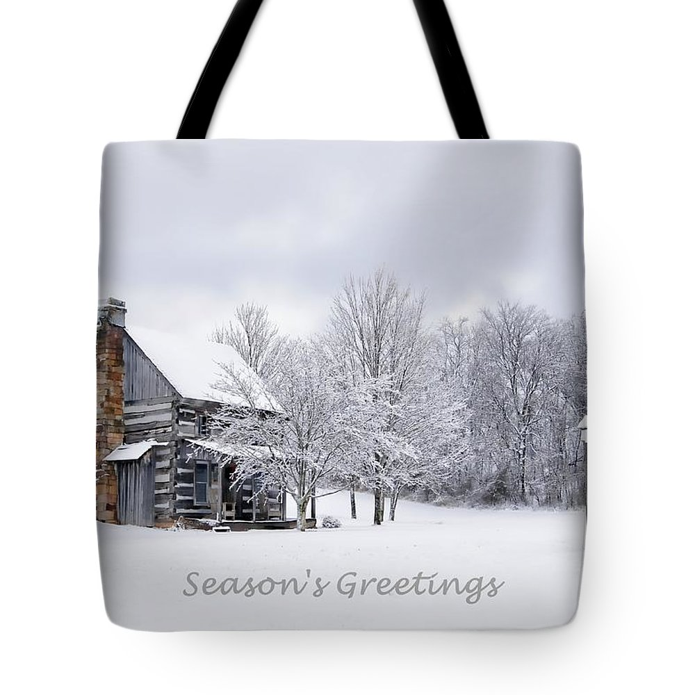 Snow Tote Bag featuring the photograph Season's Greetings by Benanne Stiens