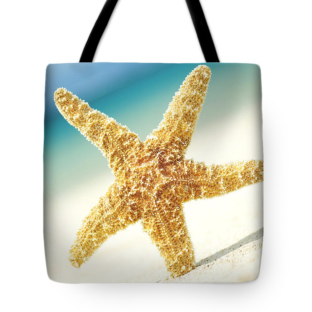 28-csm0003 Tote Bag featuring the photograph Seastar On Beach by Mary Van de Ven - Printscapes