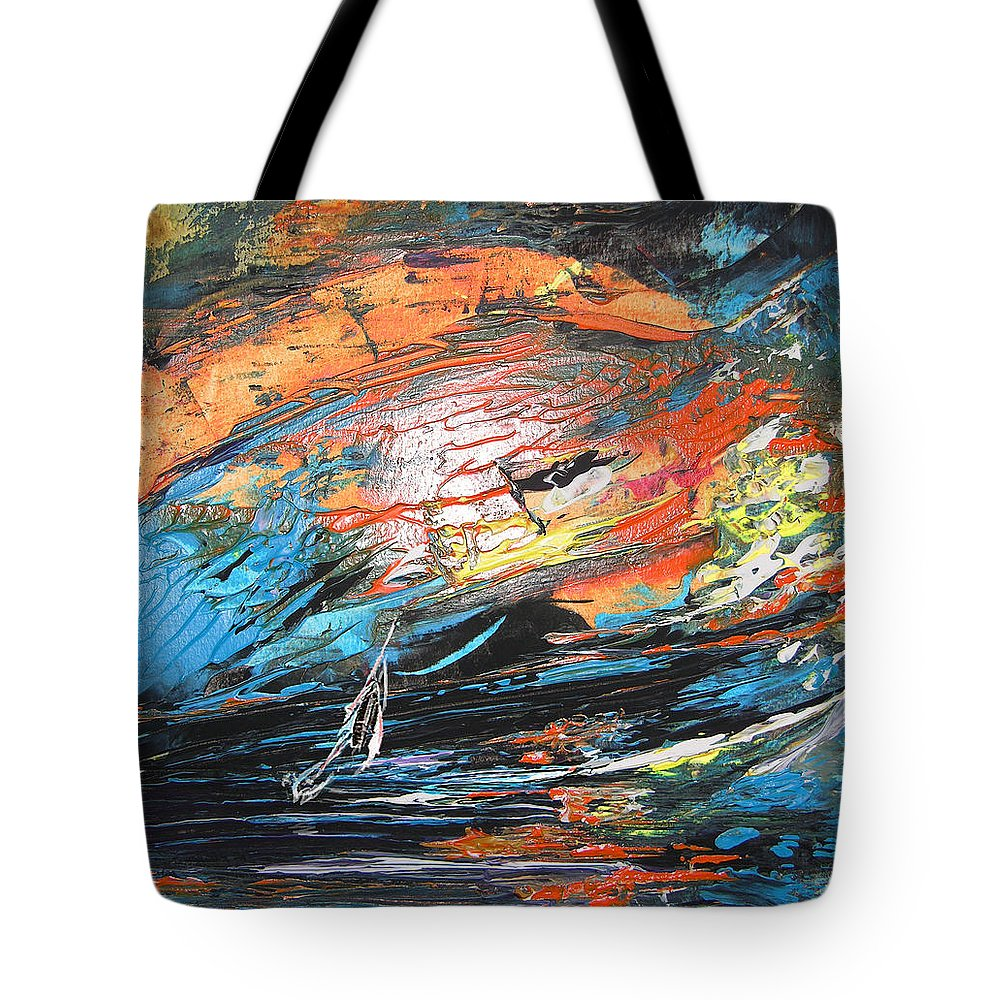 Acrylics Tote Bag featuring the painting Seastorm by Miki De Goodaboom