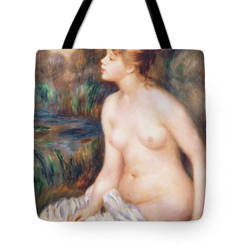 Seated Tote Bag featuring the painting Seated Female Nude by Renoir