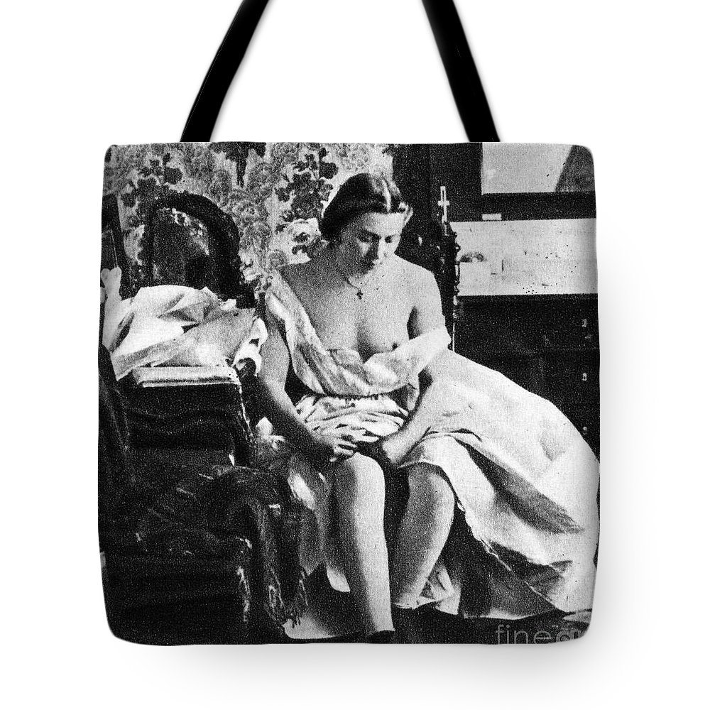 1861 Tote Bag featuring the photograph Seated Nude, C1861 by Granger