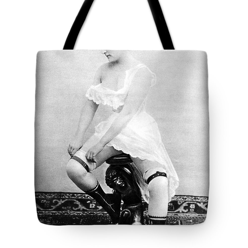 1885 Tote Bag featuring the photograph Seated Nude, C1885 by Granger