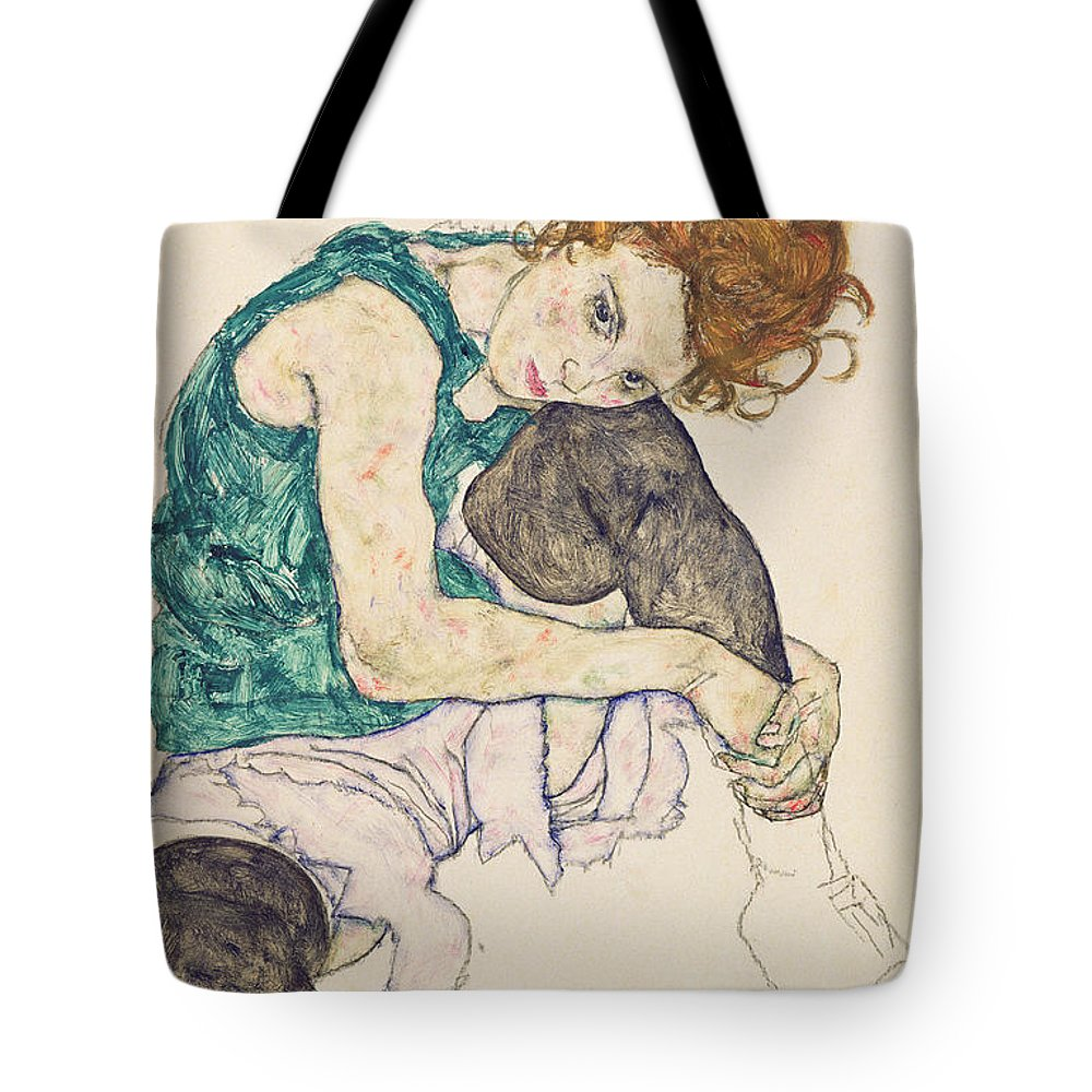 Egon Schiele Tote Bag featuring the painting Seated Woman with Bent Knee by Egon Schiele