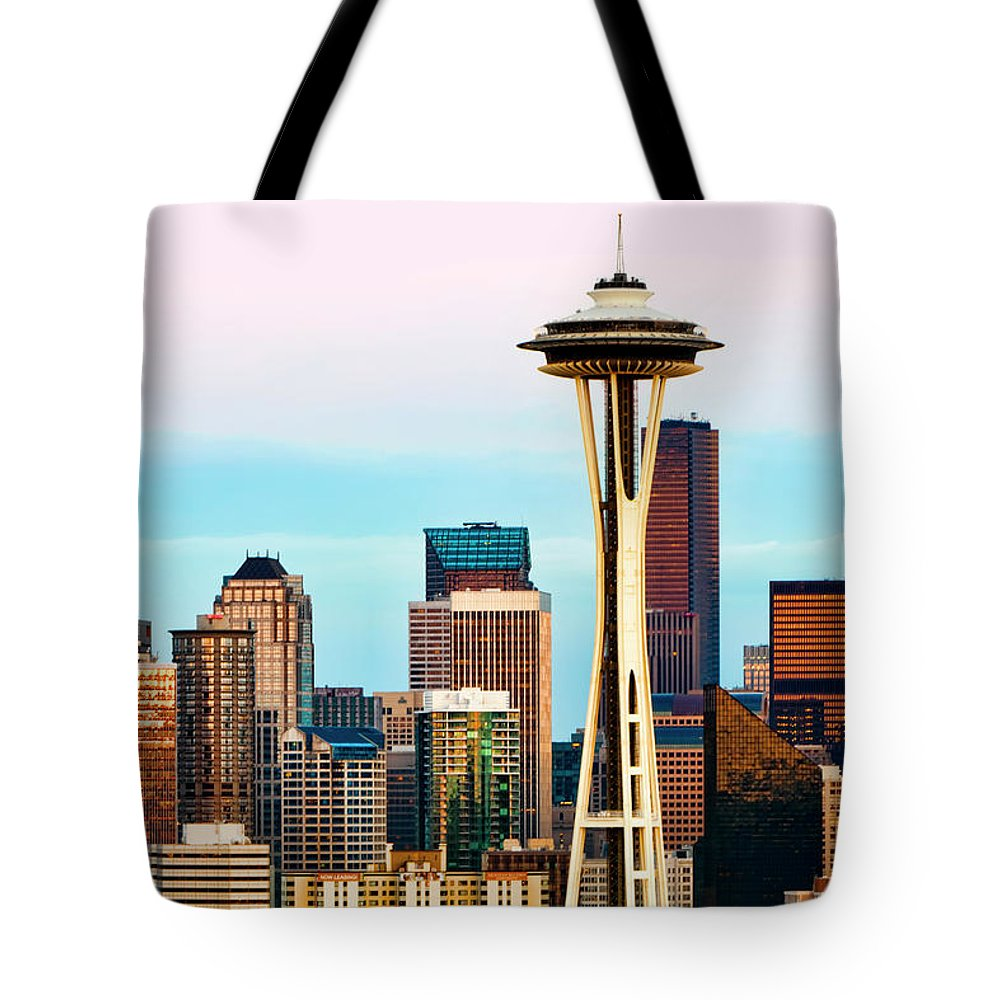 Seattle Tote Bag featuring the digital art Seattle Daylight by Janet Fikar