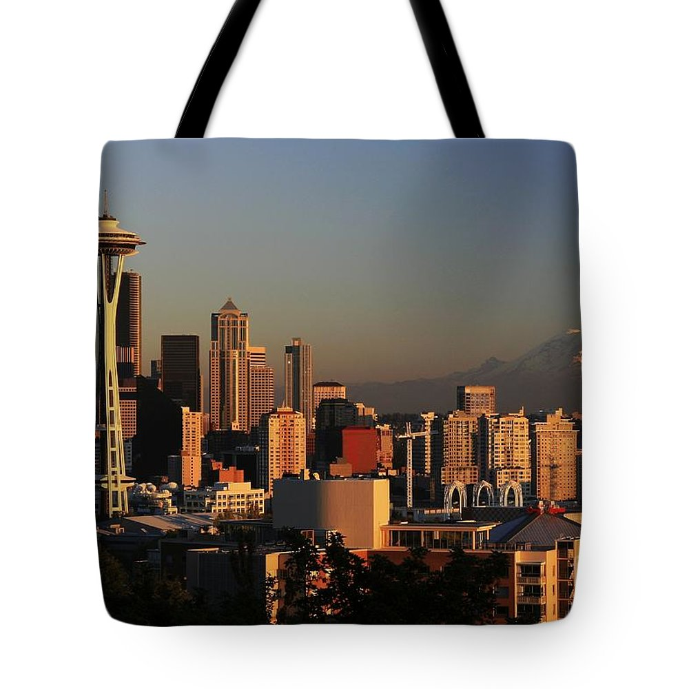 Seattle Sunset Cityscape Evening City Rainier Tote Bag featuring the photograph Seattle Equinox by Winston Rockwell
