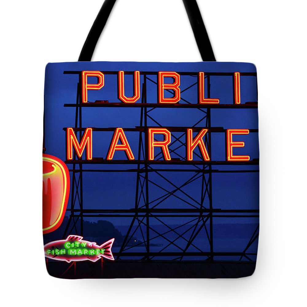 Neon Tote Bag featuring the photograph Seattle Glow by Todd Klassy