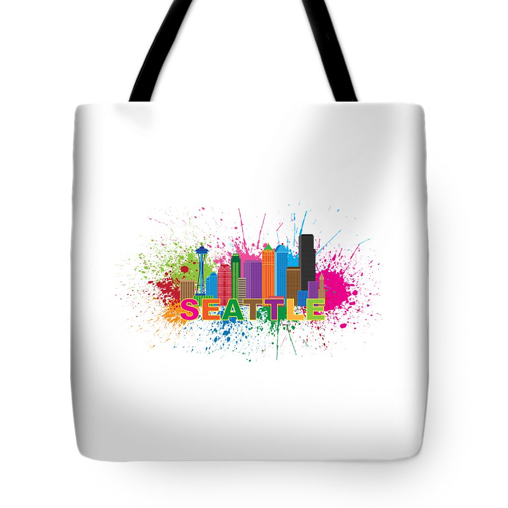 Seattle; Washington; Wa; City; Downtown; Skyline; Cityscape; Colors; Colorful; Buildings; Office; Condominiums; Landmark; Structure; Architecture; Usa; Travel; Pacific Northwest; United States; America; Flag; Destination; Tourism; Souvenirs; Paint; Splatter; Splash; Abstract; Silhouette; Outline; Isolated; White; Background; Illustration; Drawing; Vector Tote Bag featuring the photograph Seattle Skyline Paint Splatter Text Illustration by Jit Lim