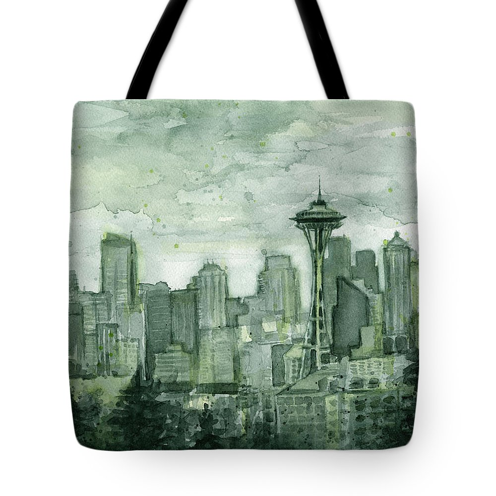 Seattle Tote Bag featuring the painting Seattle Skyline Watercolor Space Needle by Olga Shvartsur