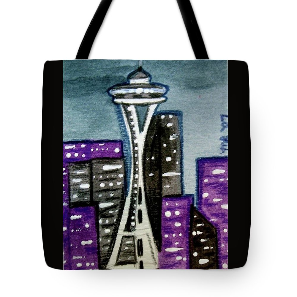 Space Needle Tote Bag featuring the painting Seattle Space Needle Cityscape by Monica Resinger