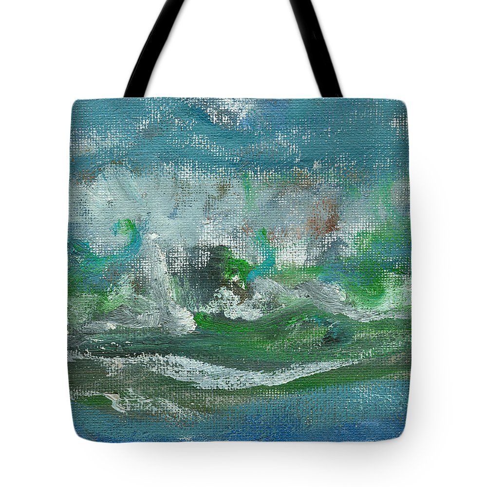 Seascape Tote Bag featuring the painting Seawaves by Jorge Delara