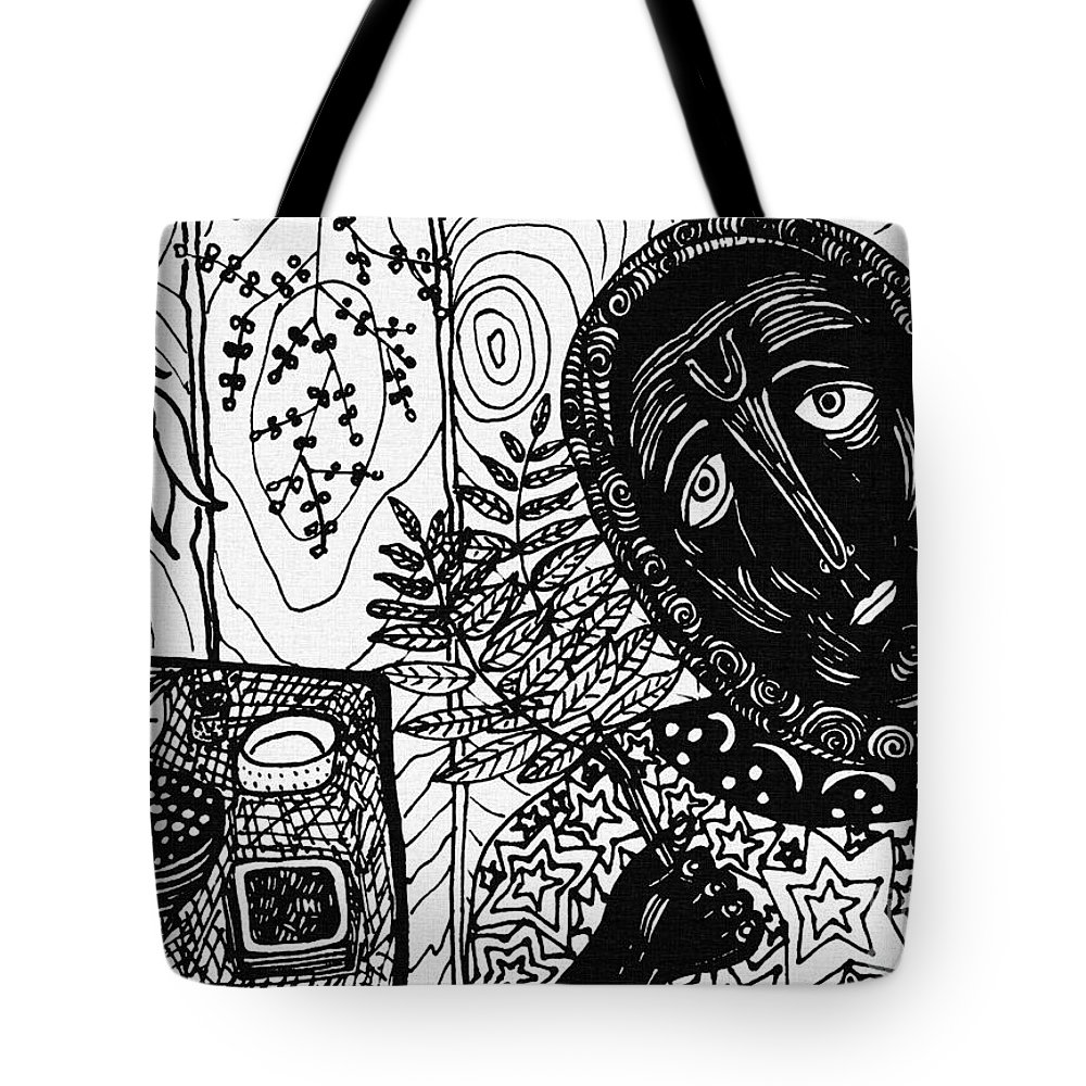Portrait Tote Bag featuring the drawing Sebastiana by Sarah Loft