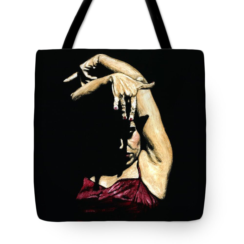 Flamenco Tote Bag featuring the painting Seclusion Del Flamenco by Richard Young