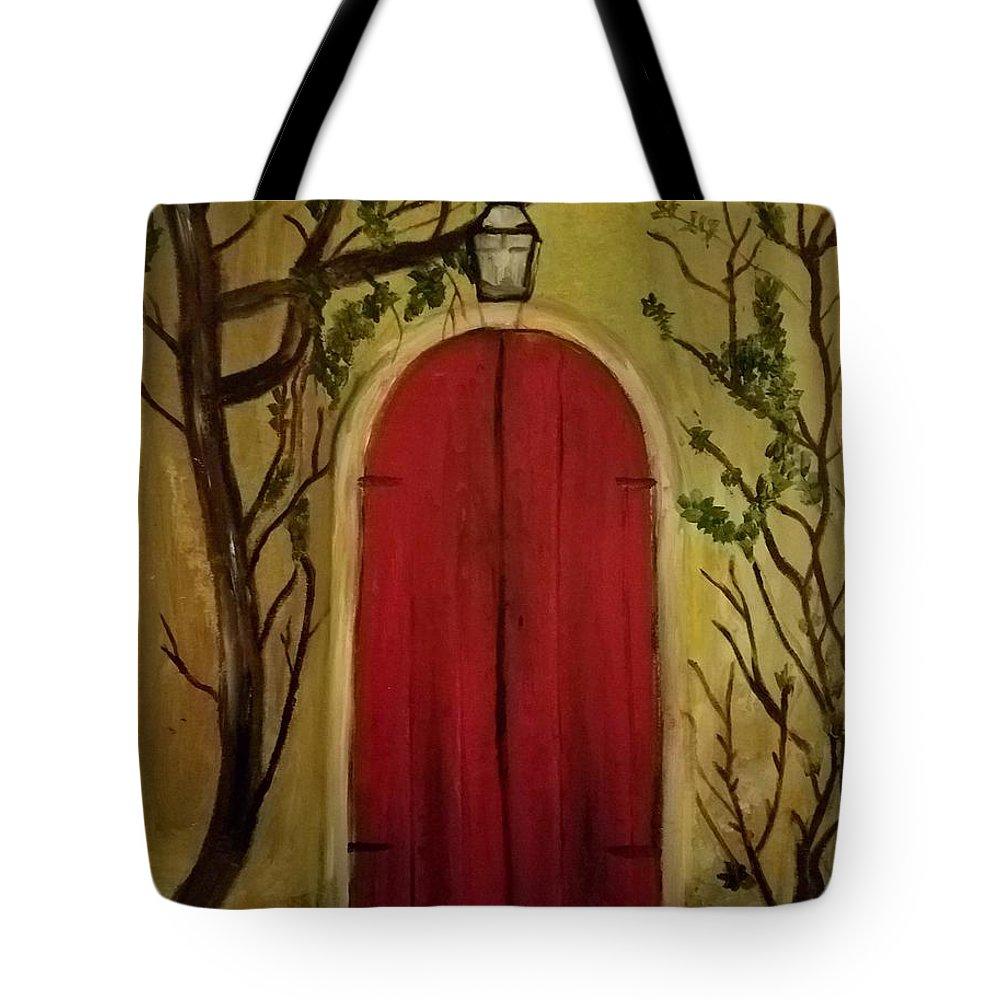 Door Tote Bag featuring the painting Secret Door by Nicole Clark