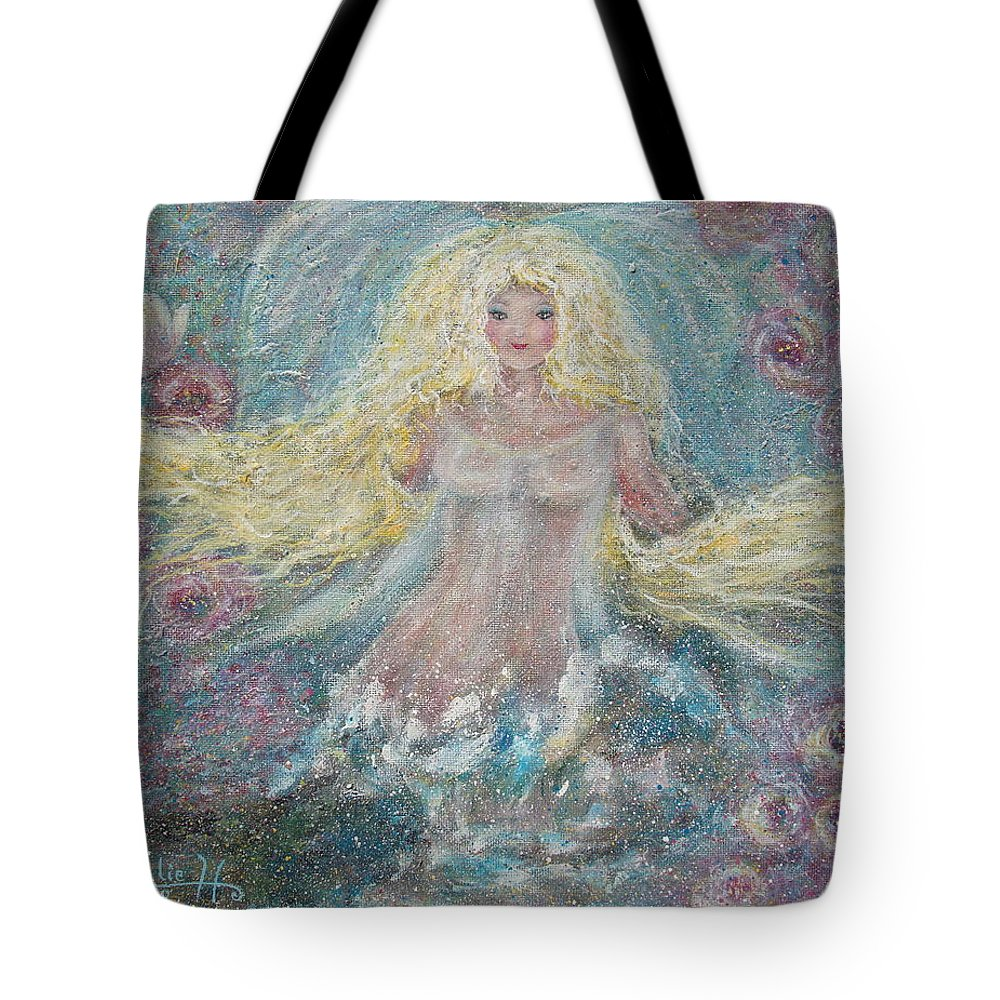 Angel Tote Bag featuring the painting Secret Garden Angel 3 by Natalie Holland