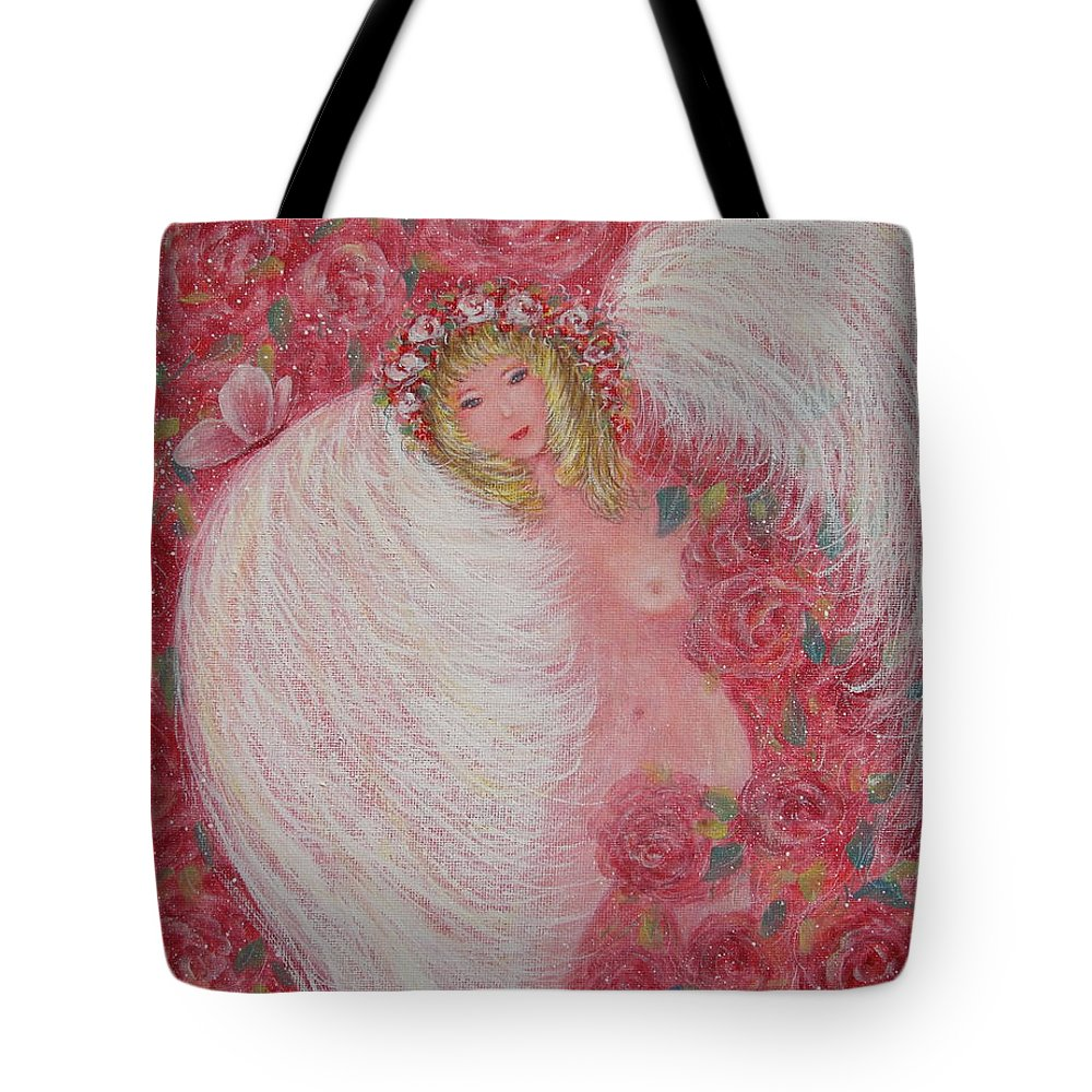 Angel Tote Bag featuring the painting Secret Garden Angel 6 by Natalie Holland