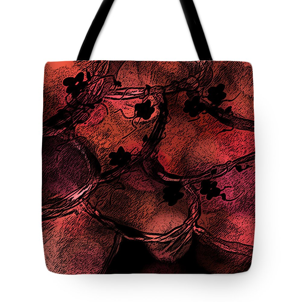 Abstract Tote Bag featuring the digital art Secret Places by Rachel Christine Nowicki