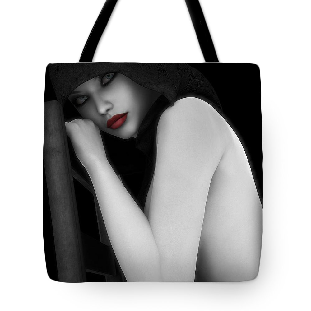 Sexy Tote Bag featuring the digital art Secretive Lust by Alexander Butler