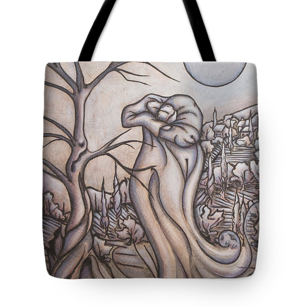 Dream. Moon Tote Bag featuring the painting Secrets And Dreams by Judy Henninger