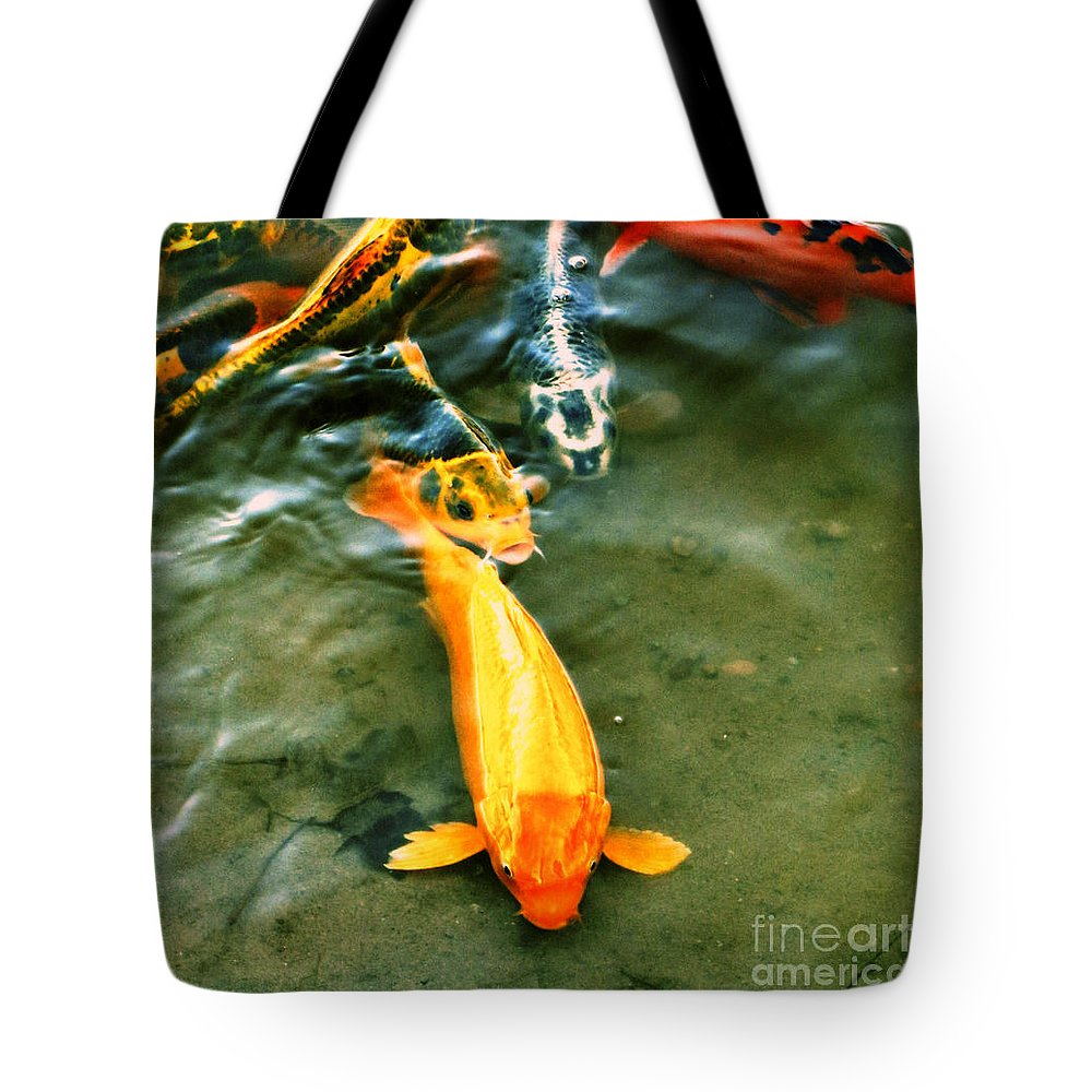Koi Tote Bag featuring the photograph Secrets Of The Wild Koi 11 by September Stone
