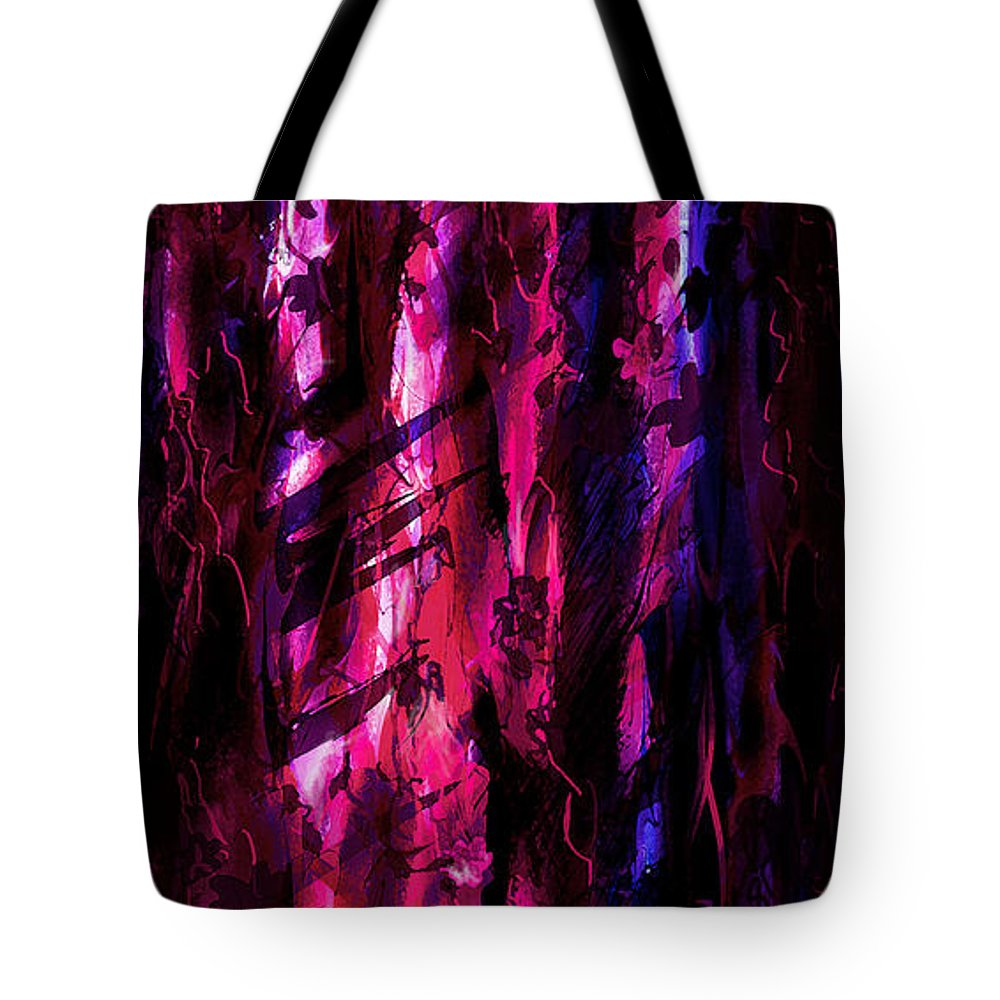 Abstract Tote Bag featuring the digital art Secrets Of The Wood by Rachel Christine Nowicki