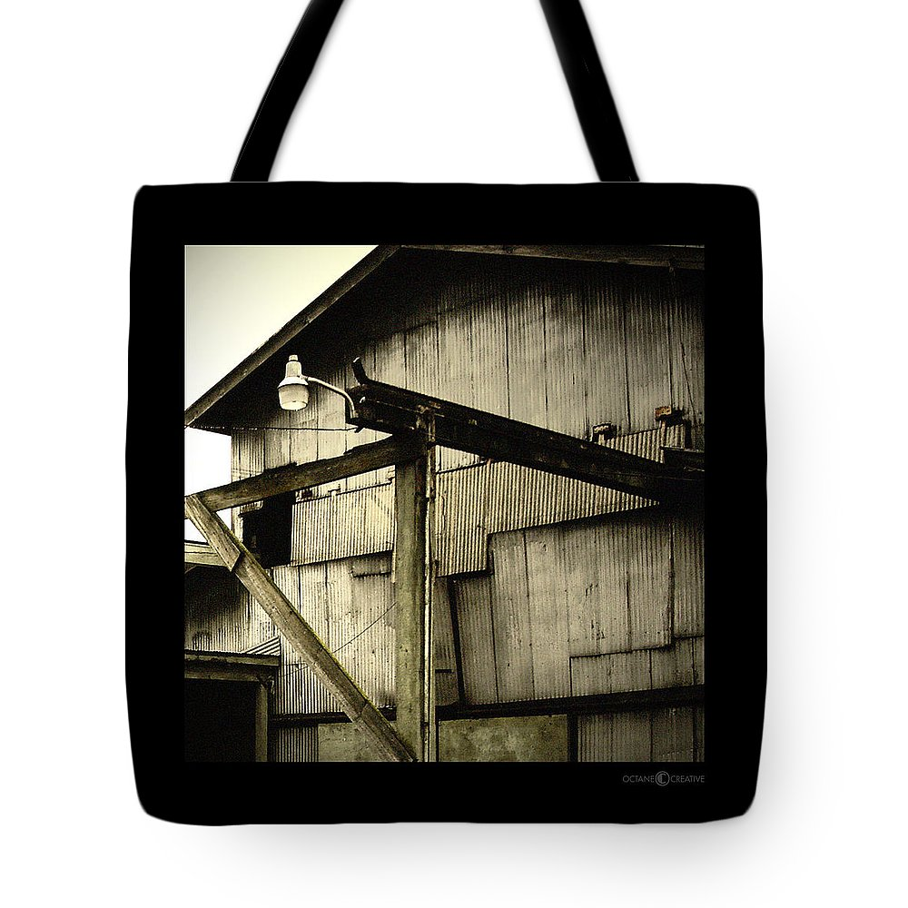 Corrugated Tote Bag featuring the photograph Security Light by Tim Nyberg