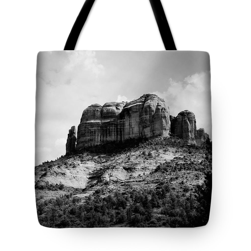 Sedona Tote Bag featuring the photograph Sedona In Black And White by Katie Soper