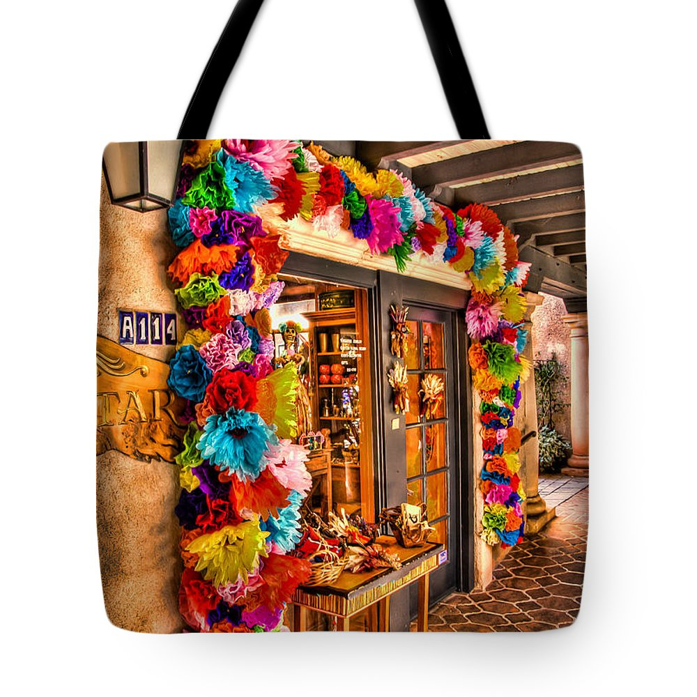 Sedona Tlaquepaque Shopping Center Tote Bag featuring the photograph Sedona Tlaquepaque Shopping Center by Jon Berghoff