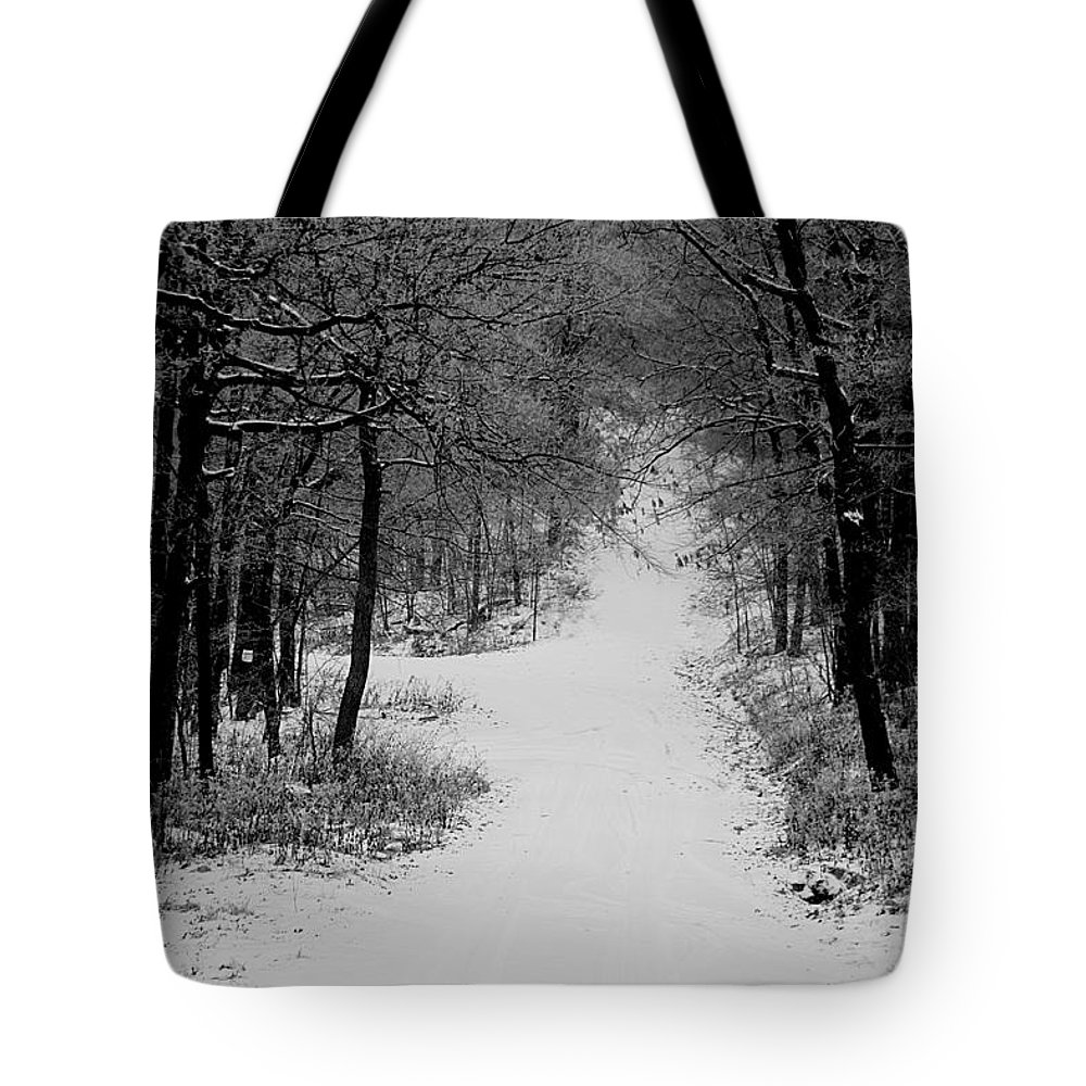 Snow Tote Bag featuring the photograph See Where It Leads. by Jean Macaluso