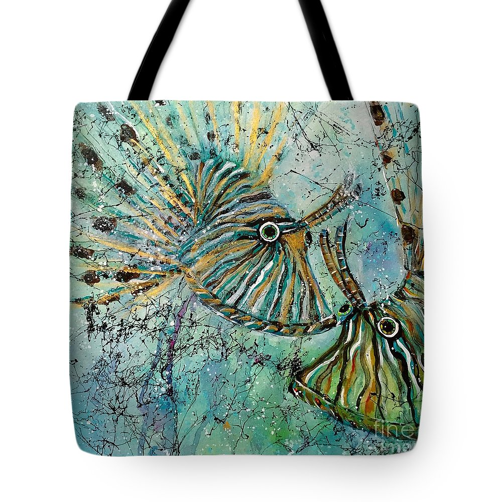 Iionfish Tote Bag featuring the painting Seeing Eye To Eye by Midge Pippel