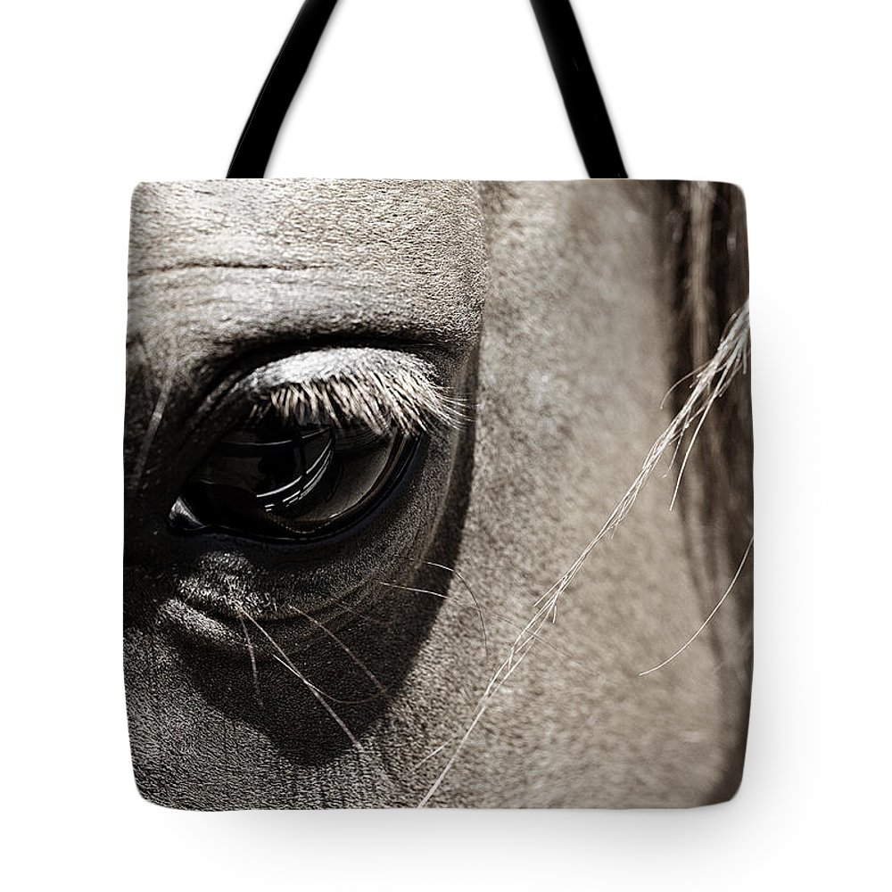 Americana Tote Bag featuring the photograph Stillness In The Eye Of A Horse by Marilyn Hunt