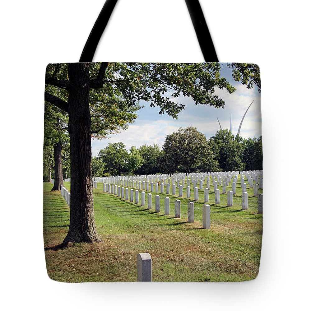 Air Tote Bag featuring the photograph Seeing The Air Force Memorial From Arlington National Cemetery by Cora Wandel