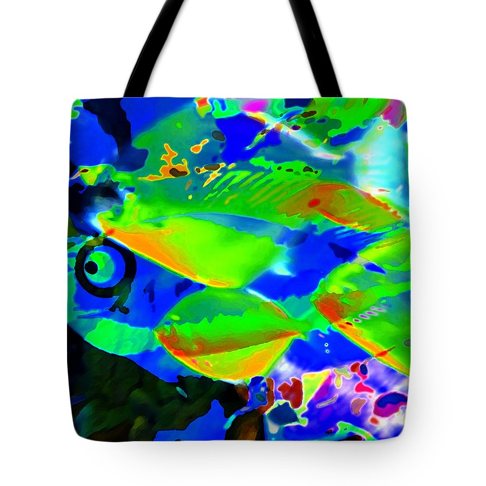 Fish Tote Bag featuring the painting Seeing Through by David Lee Thompson