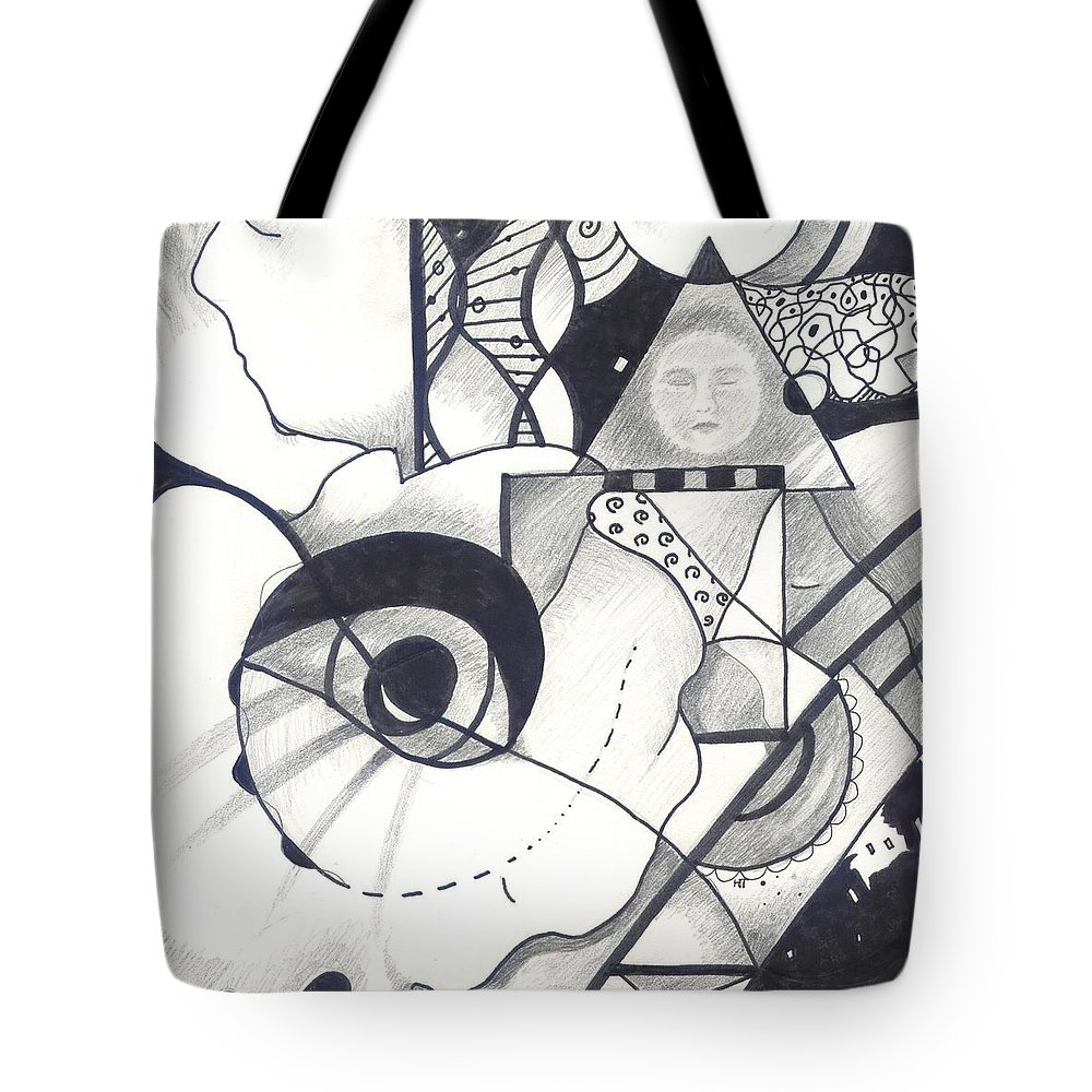 Black And White Tote Bag featuring the drawing Seeking Comfort by Helena Tiainen