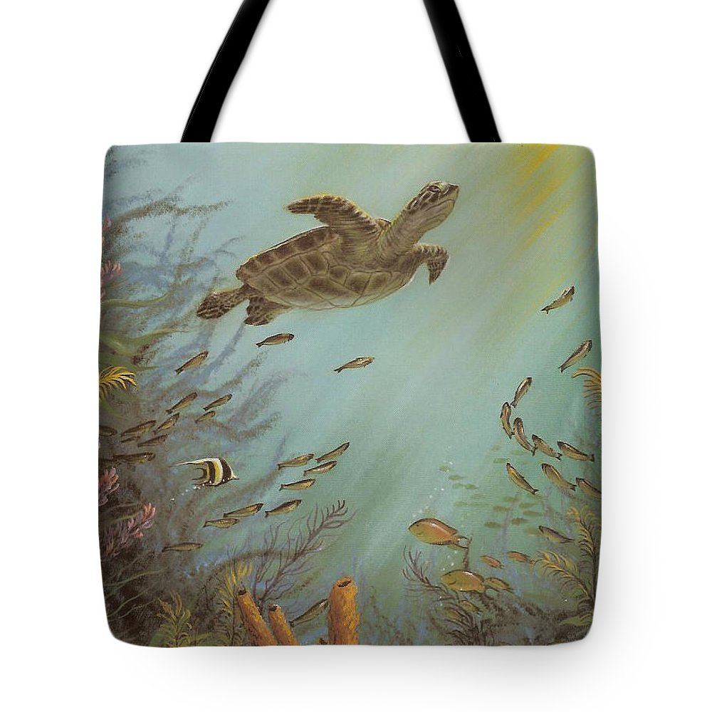 Sea Turtle Tote Bag featuring the painting Seeking Solitude by Susan Elizabeth Wolding