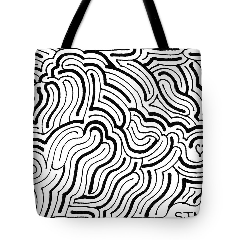 Mazes Tote Bag featuring the drawing Seeking by Steven Natanson