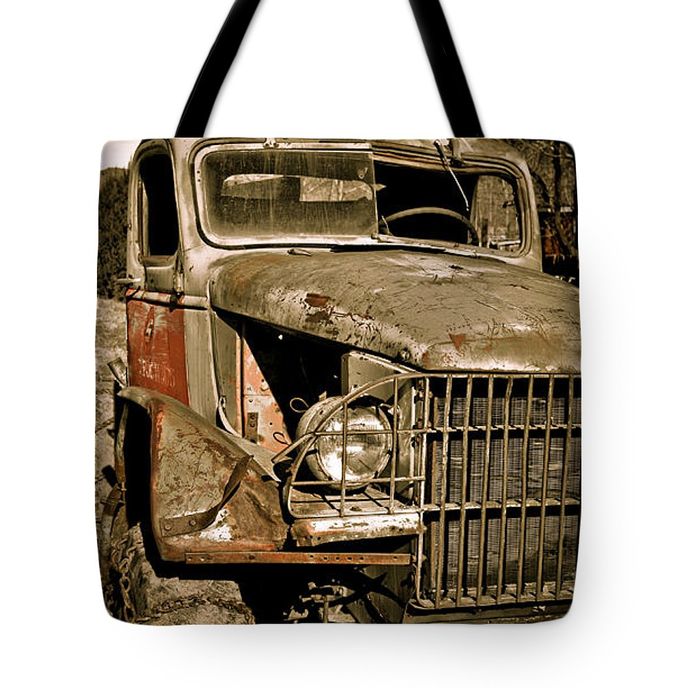 Old Vintage Antique Truck Worn Western Tote Bag featuring the photograph Seen Better Days by Marilyn Hunt