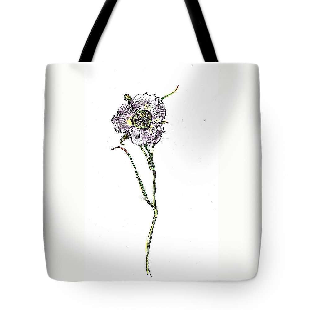 Floral Tote Bag featuring the drawing Sego Lily Field Sketch by Dawn Senior-Trask