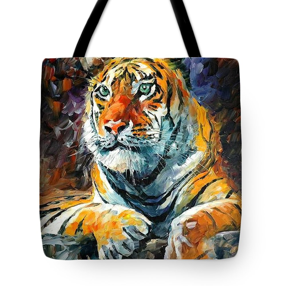 Painting Tote Bag featuring the painting Seibirian Tiger by Leonid Afremov