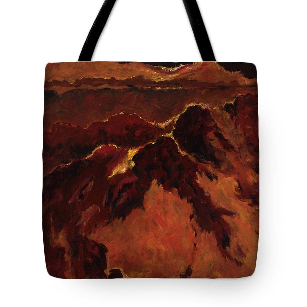 Abstract Tote Bag featuring the painting Seismic Shift by Tara Moorman