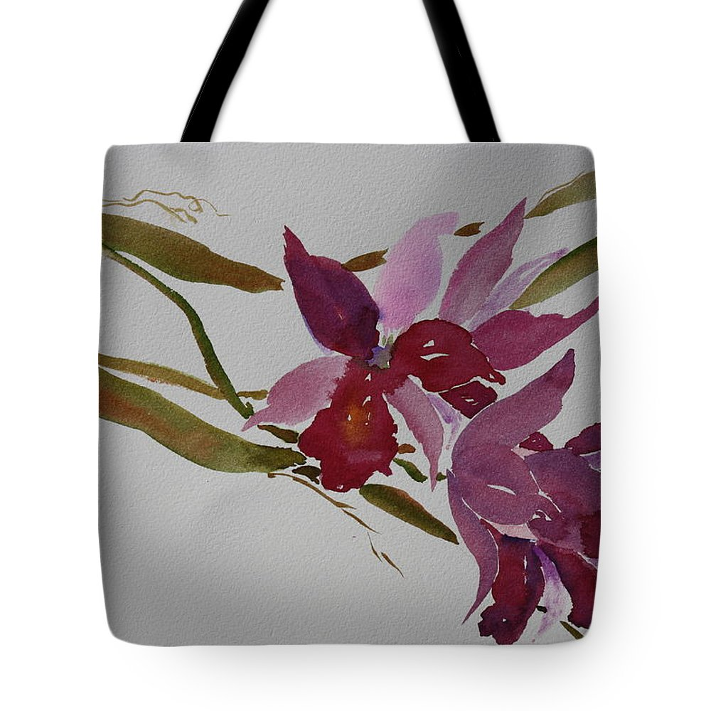 Zen Tote Bag featuring the painting Selby Orchids by Tara Moorman