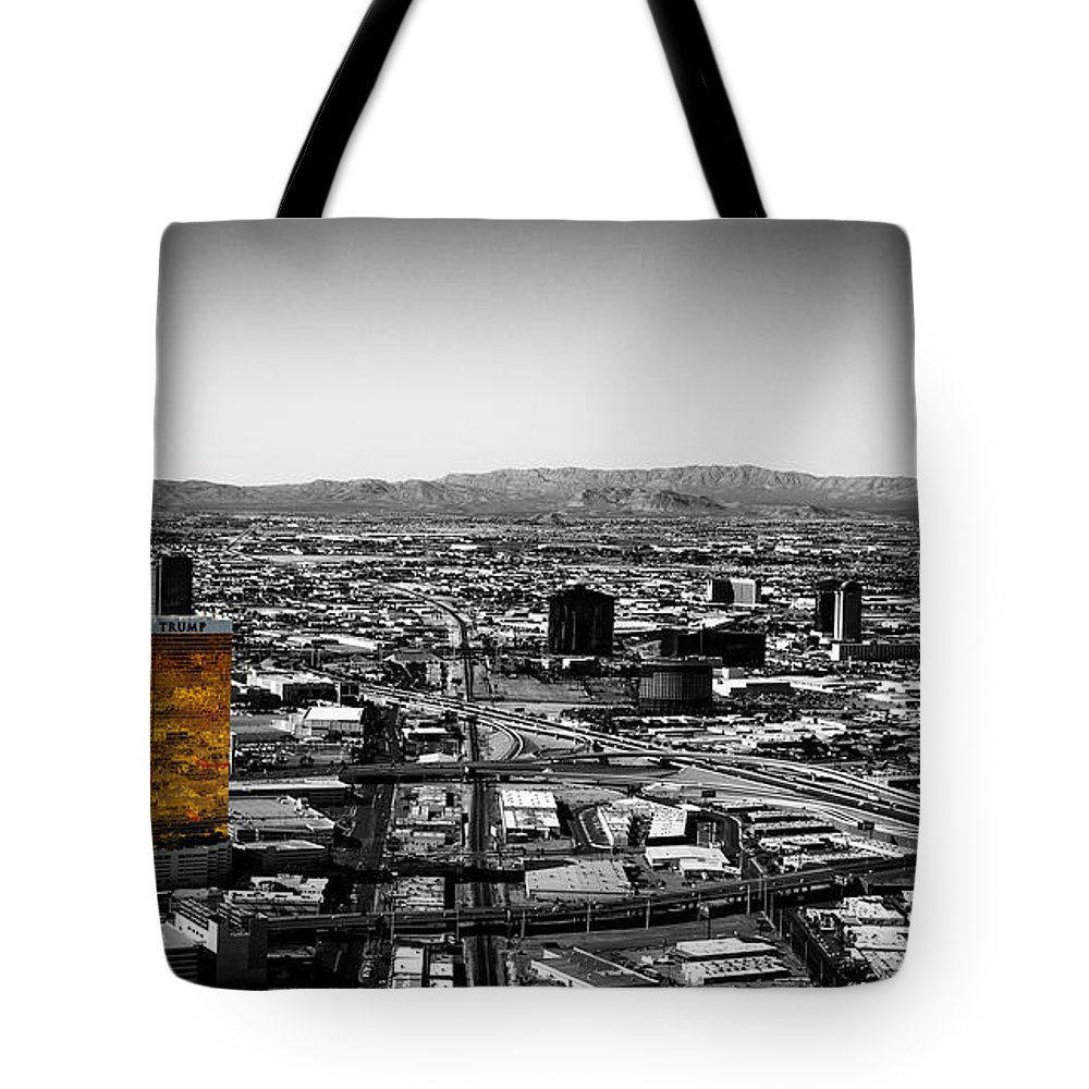 Selective Tote Bag featuring the photograph Selective Color Trump Hotel by Lisa Top