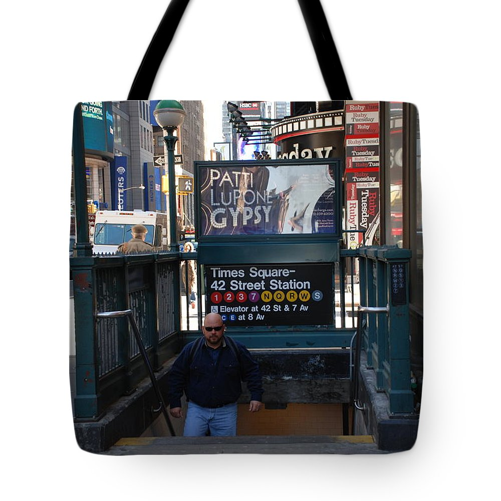 Subay Tote Bag featuring the photograph Self At Subway Stairs by Rob Hans
