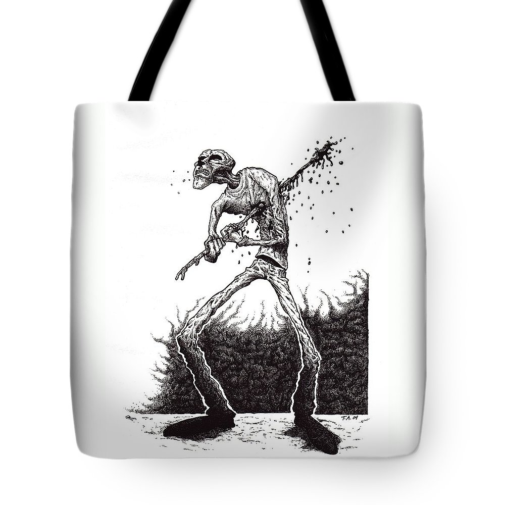 Dark Tote Bag featuring the drawing Self Inflicted by Tobey Anderson