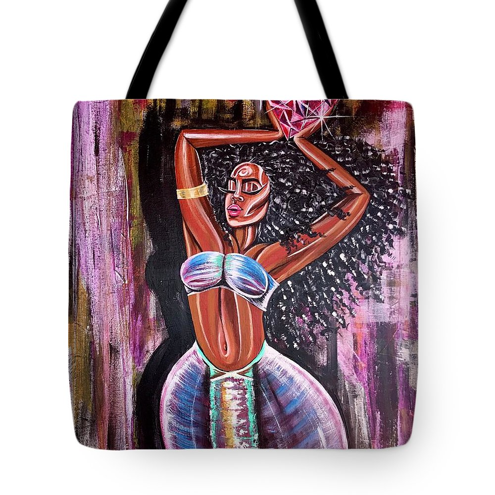 Lion Tote Bag featuring the painting Self Made Royalty by Artist RiA
