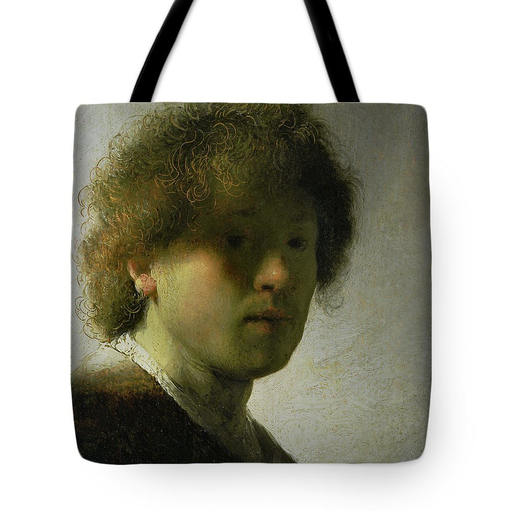 Self Tote Bag featuring the painting Self Portrait As A Young Man by Rembrandt
