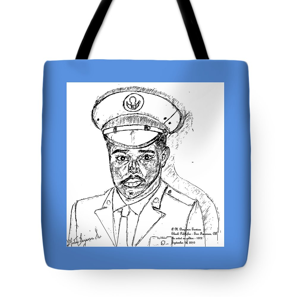 Soldier Tote Bag featuring the digital art Self Portrait As Soldier by Anthony Benjamin